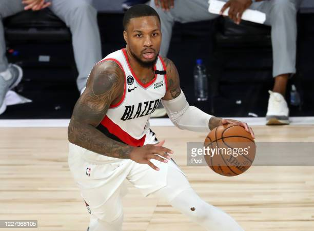 Portland Trail Blazers guard Damian Lillard dribbles during the second half against the LA Clippers in an NBA basketball game at HP Field House at...