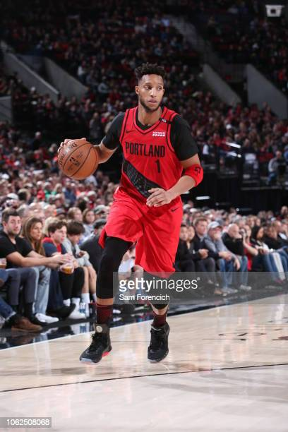 Portland Trail Blazers guard Evan Turner handles the ball against the LA Clippers on November 8 2018 at the Moda Center Arena in Portland Oregon NOTE...