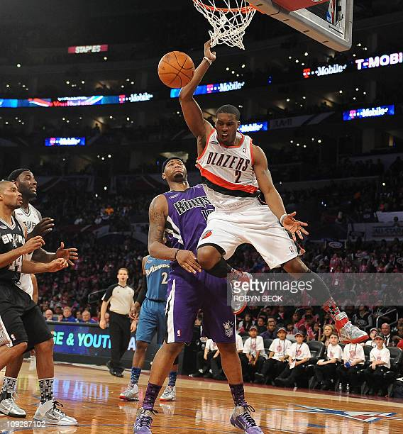 Portland Trail Blazers guard Wesley Matthews of the Sophmore Team dunks against Sacramento Kings center DeMarcus Cousins of the Rookie Team during...