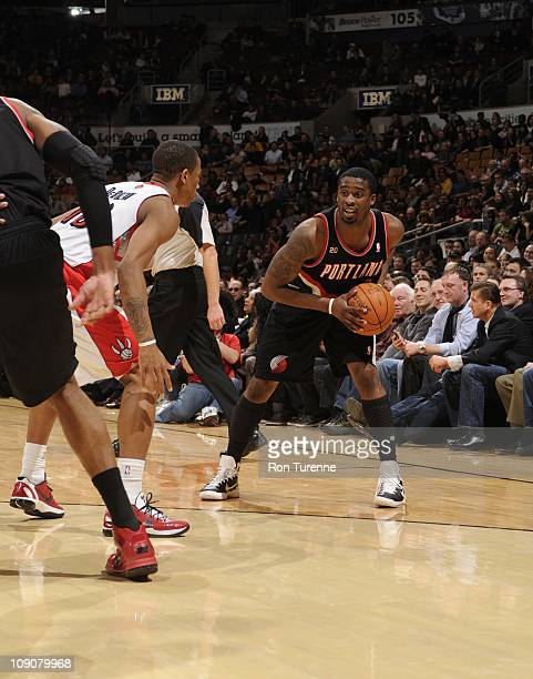 Portland Trail Blazers guard Wesley Matthews protects the ball during the game against the Toronto Raptors on February 11 2011 at the Air Canada...