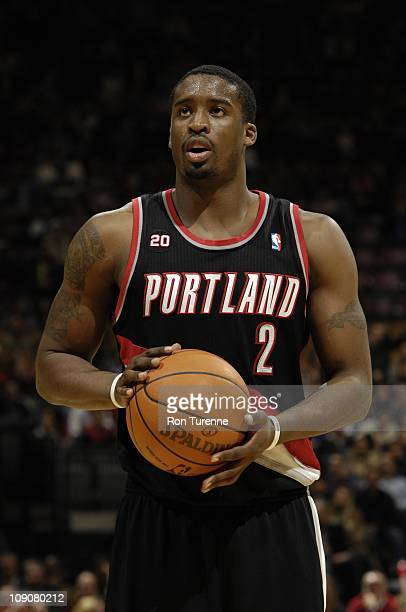Portland Trail Blazers guard Wesley Matthews shoots a free throw during the game against the Toronto Raptors on February 11 2011 at the Air Canada...