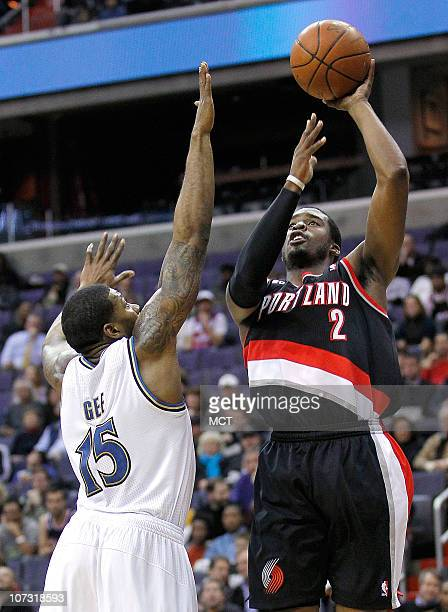 Portland Trail Blazers guard Wesley Matthews shoots over Washington Wizards shooting guard Alonzo Gee during their game played at the Verizon Center...