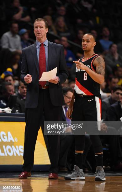 Portland Trail Blazers head coach Terry Stotts and guard Shabazz Napier during a break in the action in the first quarter on January 22 2018 at Pepsi...