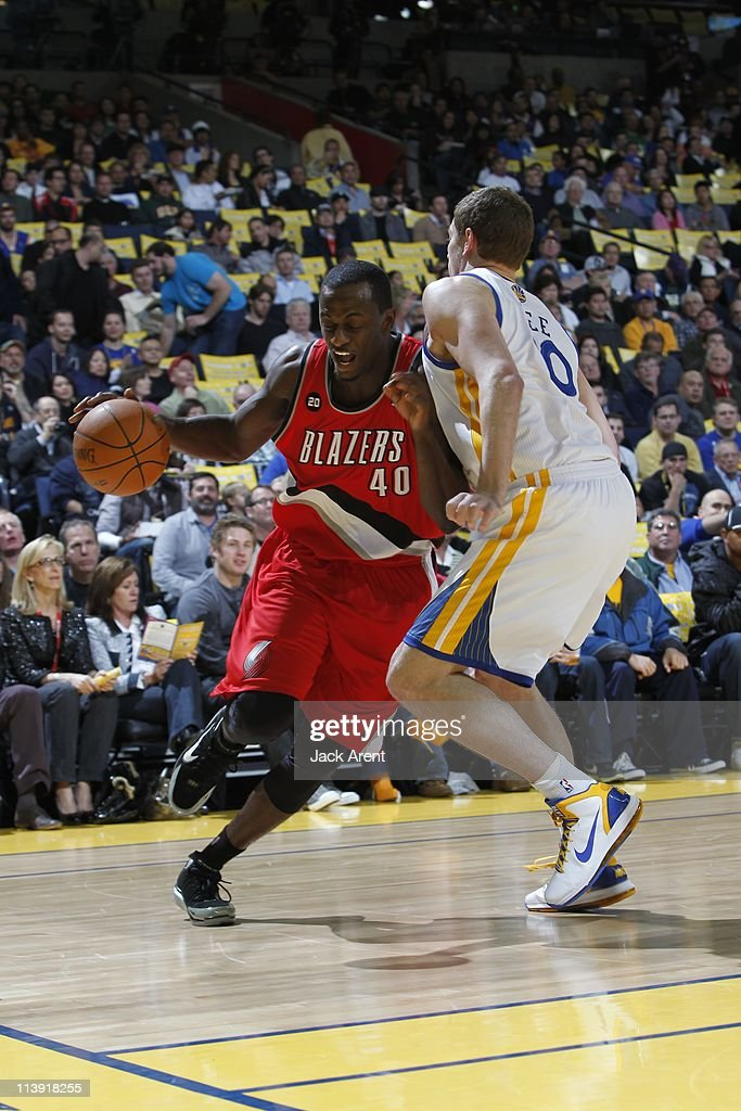 Portland Trail Blazers power forward Earl Barron #40 drives to the basket during the game against the Golden State Warriors on April 13, 2011 at Oracle Arena in Oakland, California. The Warriors won 110-86.