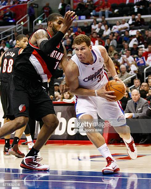 Portland Trail Blazers power forward LaMarcus Aldridge plays defense against Los Angeles Clippers power forward Blake Griffin at the Staples Center...