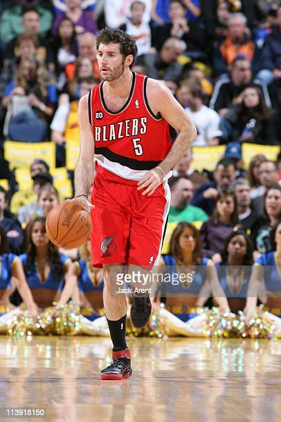 Portland Trail Blazers shooting guard Rudy Fernandez brings the ball up court during the game against the Golden State Warriors on April 13, 2011 at...