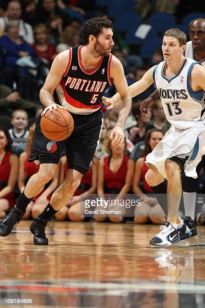 Portland Trail Blazers shooting guard Rudy Fernandez drives to the basket during the game against the Minnesota Timberwolves on February 14 2011 at...