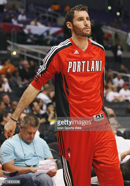 Portland Trail Blazers shooting guard Rudy Fernandez during warmups at the Staples Center on October 27 2010 in Los Angeles CA as the Los Angeles...