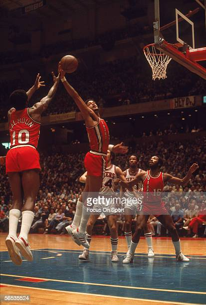 Portland Trailblazers Maurice Lucas grabs the rebound against the Philadelphia 76ers circa May of 1977 during the NBA playoffs