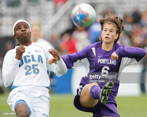 Portland's Angie Woznuk tries to keep UCLA player Danesha Adams away whil she intercepts the ball during the 2005 NCAA Women's College Cup...