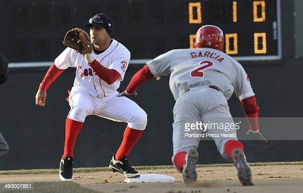 Portland's Ryan Dent waits for the throw as he tags out Harold Garcia of the Phillies Thursday, April 7, 2011.