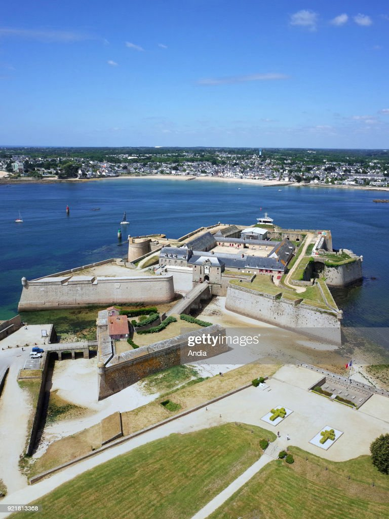 Port-Louis (Brittany, north-western France) on : aerial view of the citadel of Port-Louis, at the entrance to the natural harbour of Lorient.