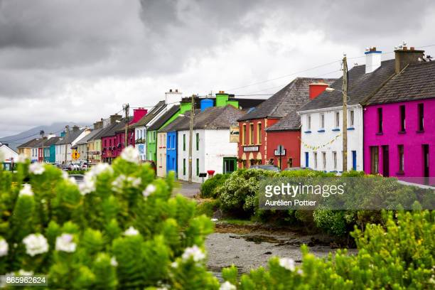 portmagee, main street - ring of kerry stock photos and pictures