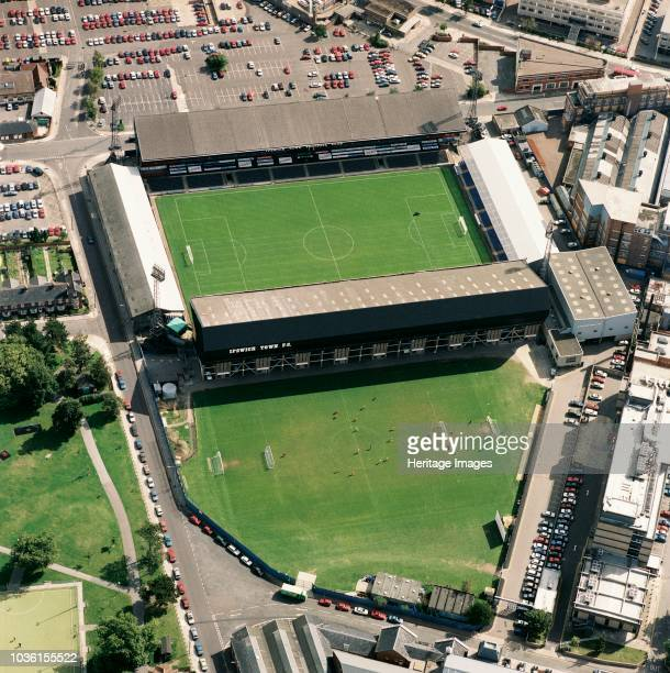 Portman Road, Ipswich, Suffolk, 1992. Aerial view of the home of Ipswich Town Football Club. The Tractor Boys finished the season as divisional...