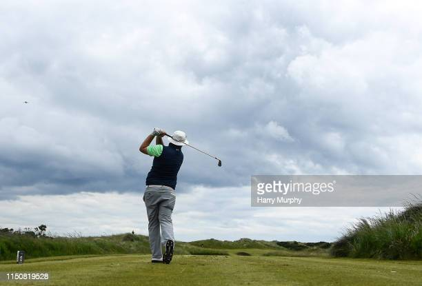Portmarnock Ireland 19 June 2019 Caolan Rafferty of Dundalk Golf Club Co Louth Ireland watches his shot on the 12h tee during day 3 of the RA Amateur...