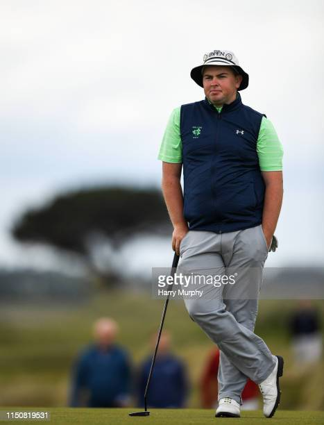 Portmarnock Ireland 19 June 2019 Caolan Rafferty of Dundalk Golf Club Co Louth Ireland on the 11th green during day 3 of the RA Amateur Championship...