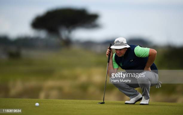 Portmarnock Ireland 19 June 2019 Caolan Rafferty of Dundalk Golf Club Co Louth Ireland lines up a putt on the 11th green during day 3 of the RA...
