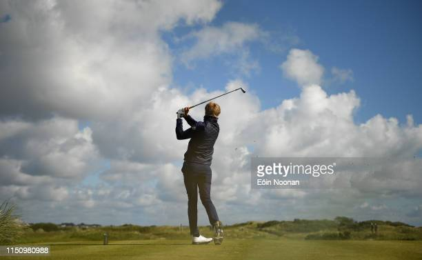 Portmarnock Ireland 19 June 2019 Christoffer Palsson of Sweden watches his tee shot from the 7th tee box during day 4 of the RA Amateur Championship...