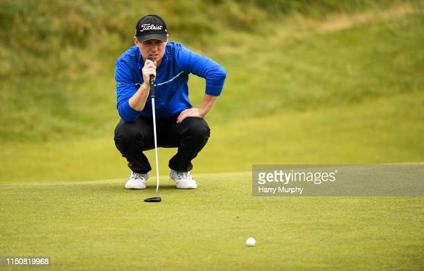 Portmarnock Ireland 19 June 2019 Eanna Griffin of Waterford Golf Club Co Waterford Ireland lines up a putt on the 15th green during day 3 of the RA...