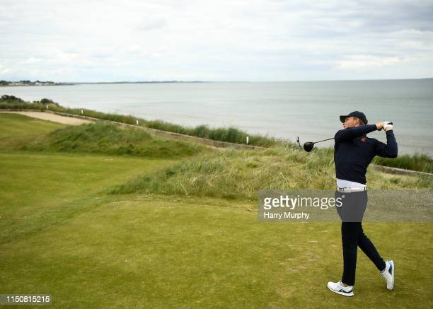 Portmarnock Ireland 19 June 2019 Koe Kouweanaar of Netherlands watches his drive from the 13th tee during day 3 of the RA Amateur Championship at...