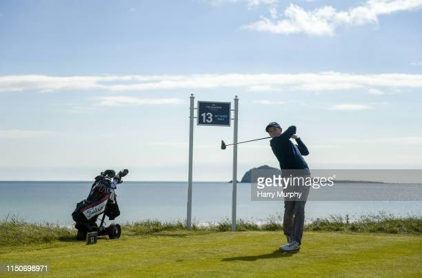 Portmarnock Ireland 19 June 2019 Ronan Mullarney of Galway Golf Club Co Galway Ireland tees off on the 13th hole during day 3 of the RA Amateur...