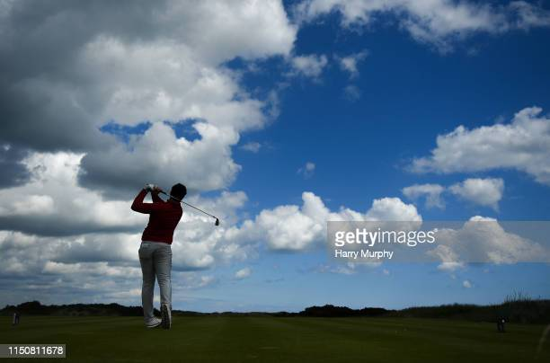 Portmarnock Ireland 19 June 2019 Tom Sloman of Taunton and Pickeridge Golf Club England watches his tee shot during day 3 of the RA Amateur...