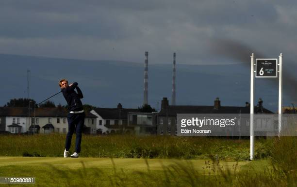 Portmarnock Ireland 20 June 2019 Christoffer Palsson of Sweden watches his drive from the 6th tee box during day 4 of the RA Amateur Championship at...