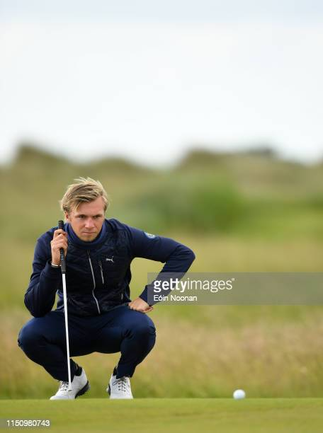 Portmarnock Ireland 20 June 2019 Christoffer Palsson of Sweden lining up a putt on the 2nd green during day 4 of the RA Amateur Championship at...