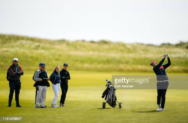 Portmarnock Ireland 20 June 2019 Jonatan Jolkkonen of Finland watches his shot from the fairway on the 13th hole during day 4 of the RA Amateur...
