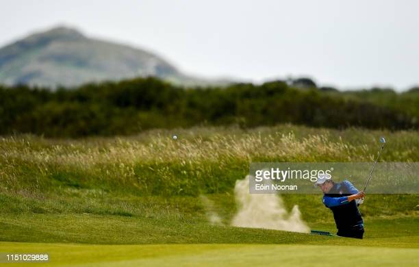 Portmarnock Ireland 20 June 2019 Riccardo Leo of Italy watches his second shot from a bunker on the 13th hole during day 4 of the RA Amateur...