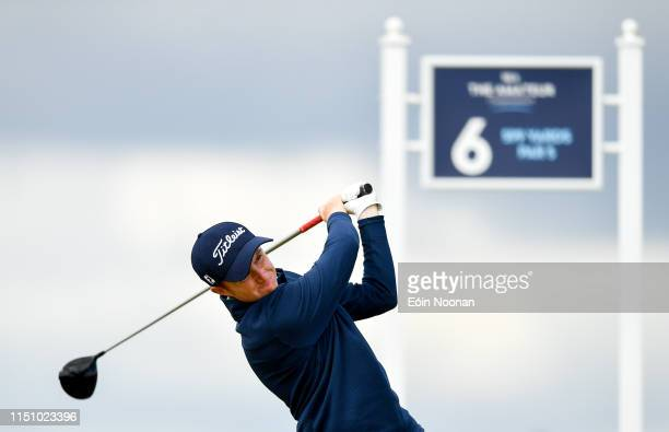 Portmarnock Ireland 20 June 2019 Ronan Mullarney of Galway Golf Club Galway Ireland watches his drive on the 6th tee box during day 4 of the RA...