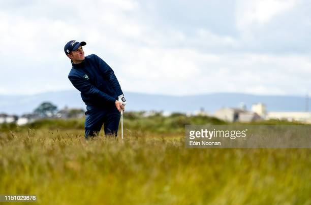 Portmarnock Ireland 20 June 2019 Ronan Mullarney of Galway Golf Club Galway Ireland watches his chipped shot from the rough on the 9th hole during...