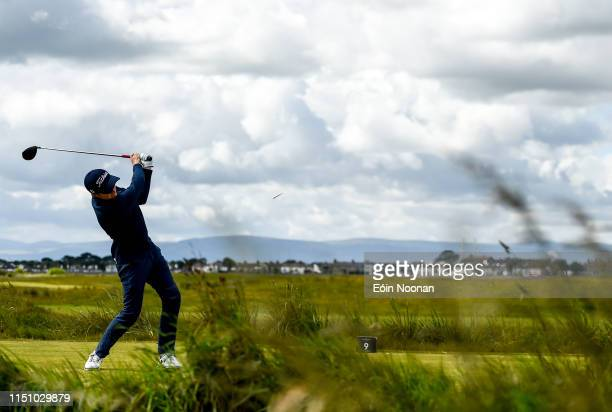 Portmarnock Ireland 20 June 2019 Ronan Mullarney of Galway Golf Club Galway Ireland watches his tee shot from the 9th tee box during day 4 of the RA...