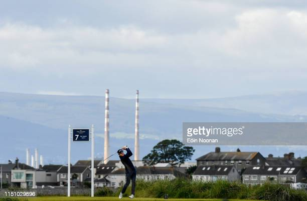 Portmarnock Ireland 20 June 2019 Ronan Mullarney of Galway Golf Club Galway Ireland watches his tee shot from the 7th tee box during day 4 of the RA...