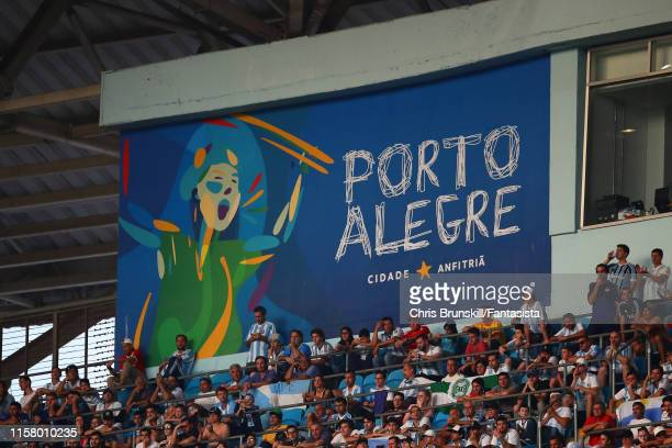 Porto Alegre sign on display during the Copa America Brazil 2019 group B match between Qatar and Argentina at Arena do Gremio on June 23 2019 in...
