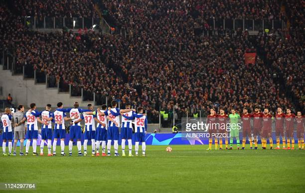 FC Porto and AS Roma players hold a minute's silence in remembrance of late Argentine plater Emiliano Sala prior to the UEFA Champions League round...