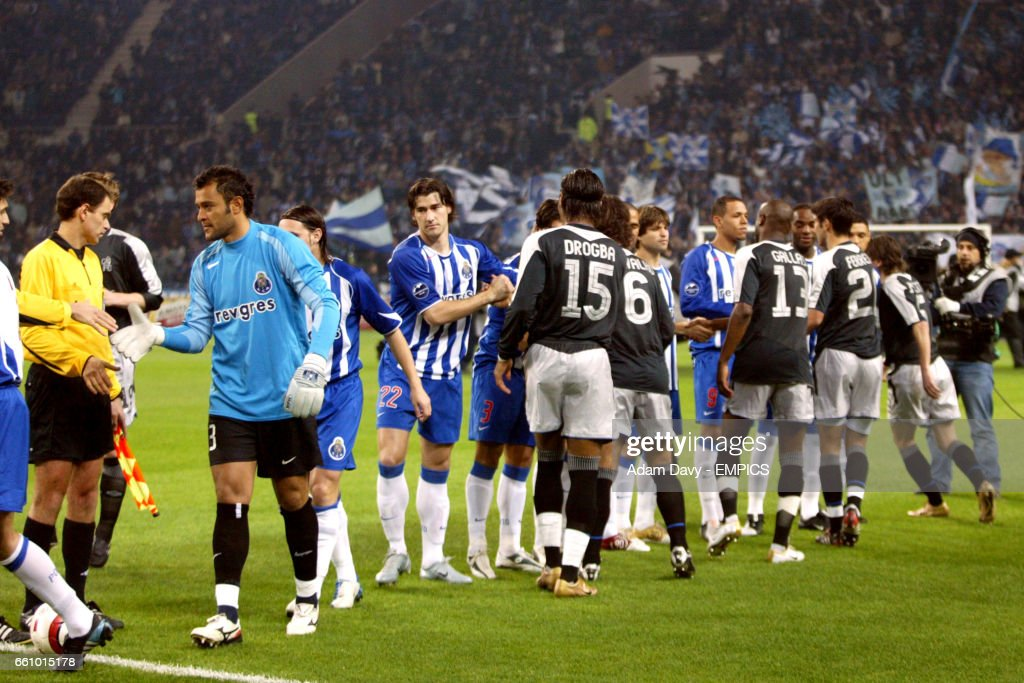 FC Porto and Chelsea players shake hands prior to kick off ...