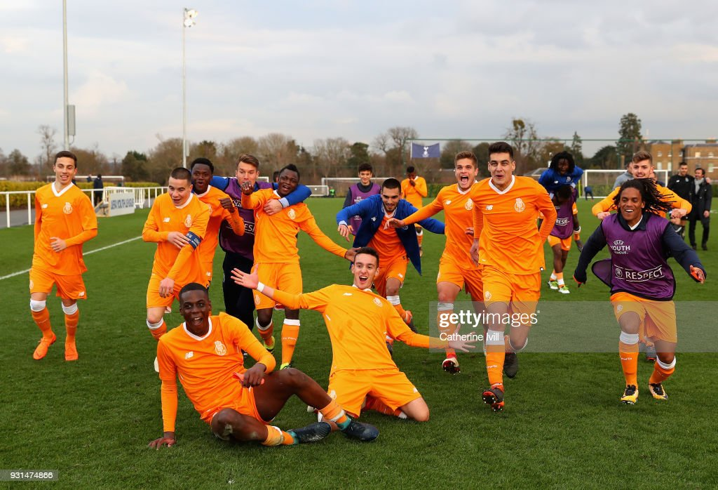 Porto celebrate victory following the UEFA Youth League group H match between Tottenham Hotspur and FC Porto at on March 13, 2018 in Enfield, United Kingdom.
