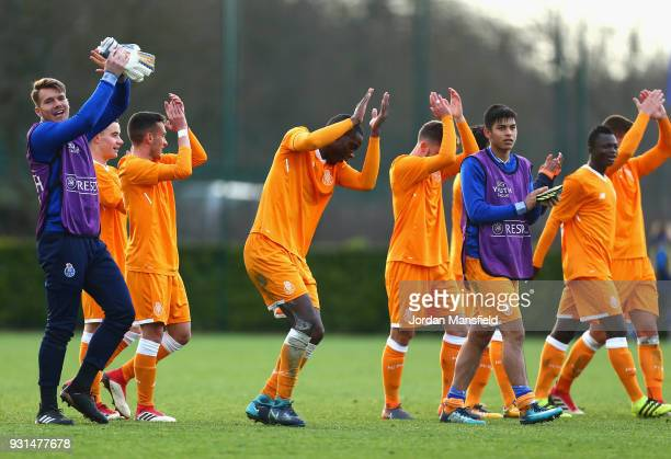 Porto celebrate victory following the UEFA Youth League group H match between Tottenham Hotspur and FC Porto at on March 13 2018 in Enfield United...