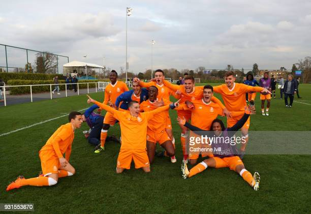 Porto celebrate victory following the UEFA Youth League group H match between Tottenham Hotspur and FC Porto on March 13 2018 in Enfield United...
