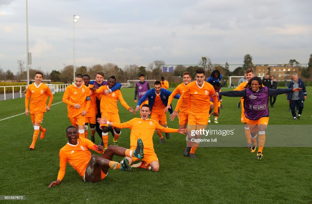 Porto celebrate victory following the UEFA Youth League group H match between Tottenham Hotspur and FC Porto on March 13, 2018 in Enfield, United Kingdom.