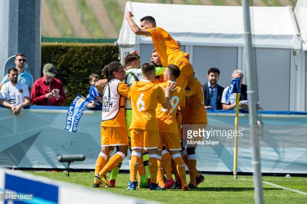 Porto celebrates their goal during the semifinal football match between Chelsea FC and FC Porto of UEFA Youth League at Colovray Sports Centre on...