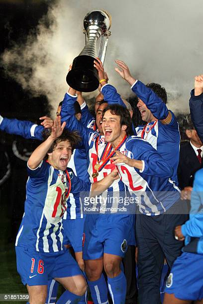 Porto celebrates their victory during the Toyota Cup between FC Porto and Once Caldas at Yokohama International stadium December 12 2004 in Yokohama...