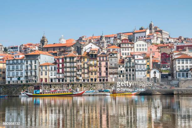 porto city alongside douro river - altstadt stock-fotos und bilder