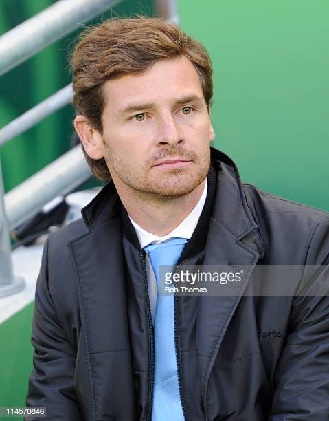 Porto coach Andre VillasBoas before the start of the UEFA Europa League Final between FC Porto and SC Braga at the Dublin Arena on May 18 2011 in...