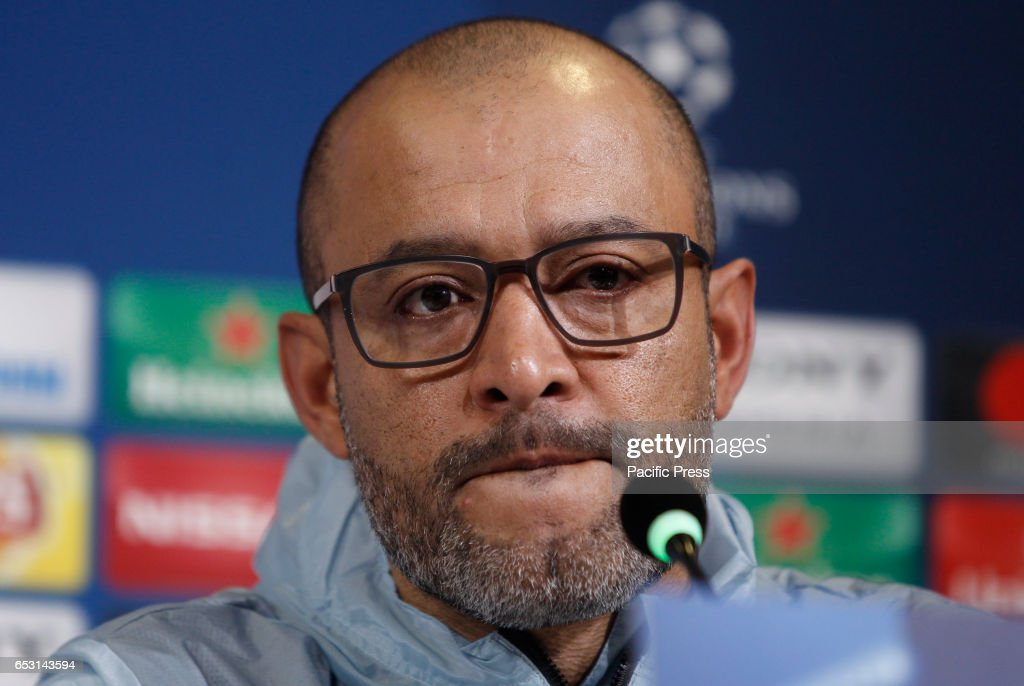 Porto coach, Nuno Espirito Santo attends a press conference ahead of the Champions League round of 16 second leg soccer match against Juventus.