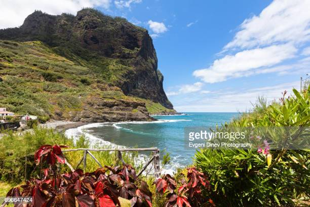 madeira, portugal - juny 2017: porto da cruz beach - madeira stock photos and pictures