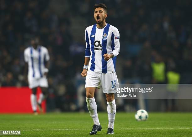 Porto defender Alex Telles from Brazil celebrates after scoring a goal during the UEFA Champions League match between FC Porto and AS Monaco at...