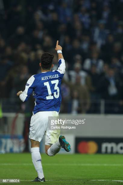 Porto defender Alex Telles from Brazil celebrates scoring Porto fourth goal during the match between FC Porto v AS Monaco or the UEFA Champions...