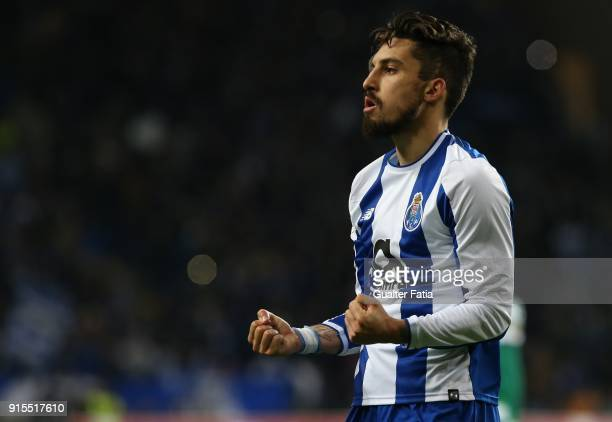 Porto defender Alex Telles from Brazil celebrates the victory at the end of the Portuguese Cup Semi Final Leg One match between FC Porto and Sporting...